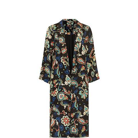 Paisley Print Silk Overcoat