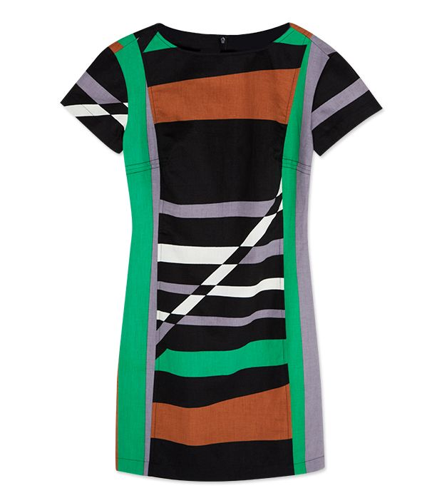 Striped Sheath Dress ($70) in Graphic Surf Parrot