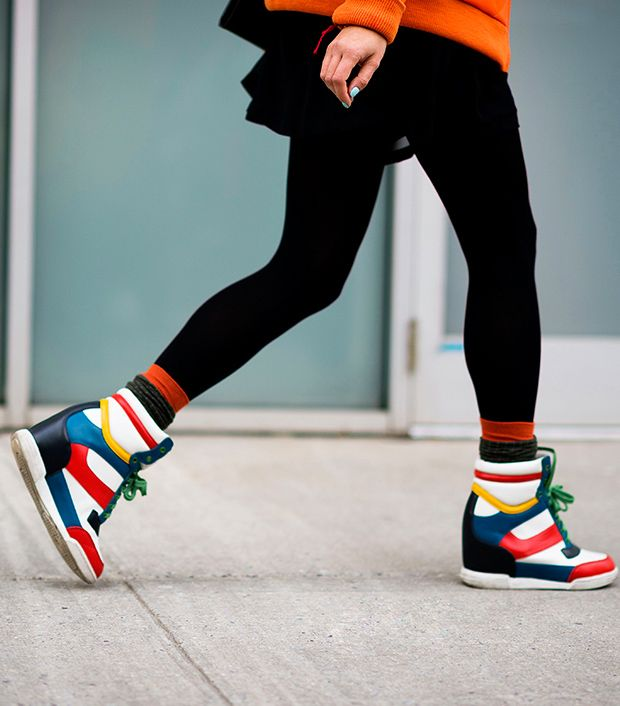Style Note: Put some pep into your step with colourful wedge sneakers.