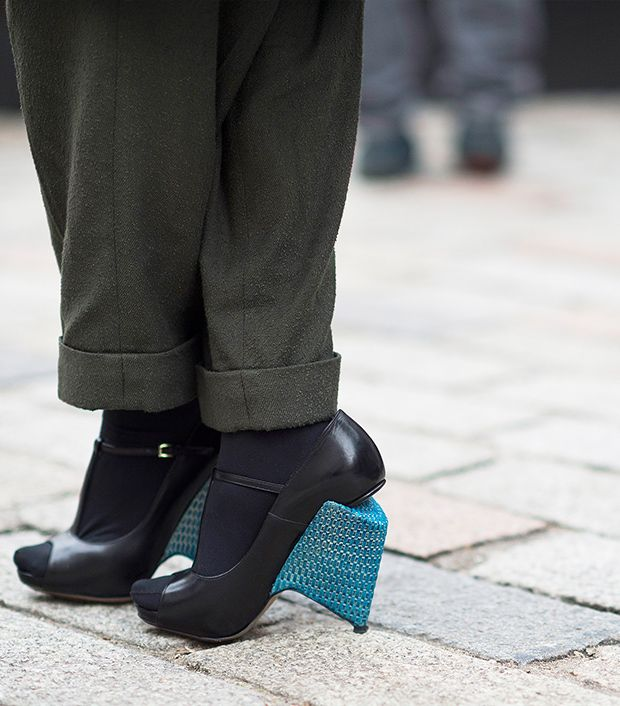 Style note: Update your look with an offbeat heel.