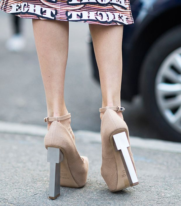 Style note: Reach skyscraper heights with an architectural heel.  Source: Le 21eme