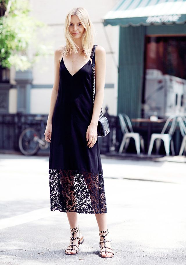 Outfit Idea 1: Lace Slip Dress + Sandals