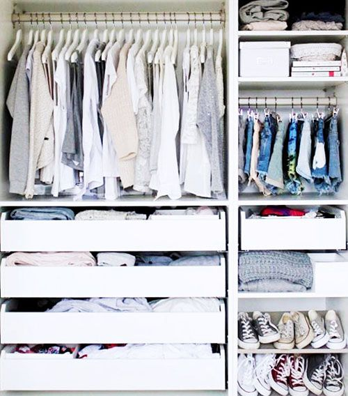 Give your closet a nice aesthetic by arranging clothing by hue.