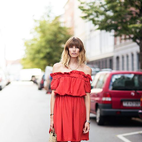 off-the-shoulder dress street style