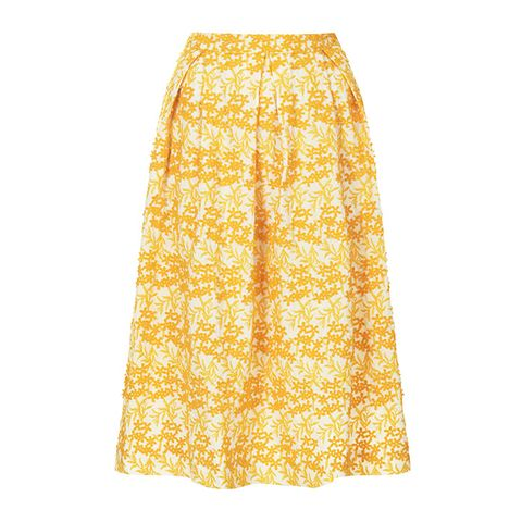 Daisy Embroidery Midi Skirt