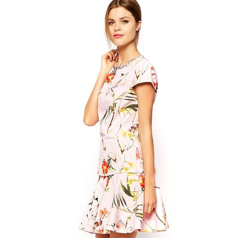 Botanical Bloom Cap Sleeve Top with Embellished Neckline