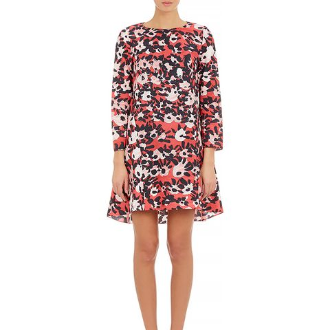Abstract Floral-Print A-Line Dress