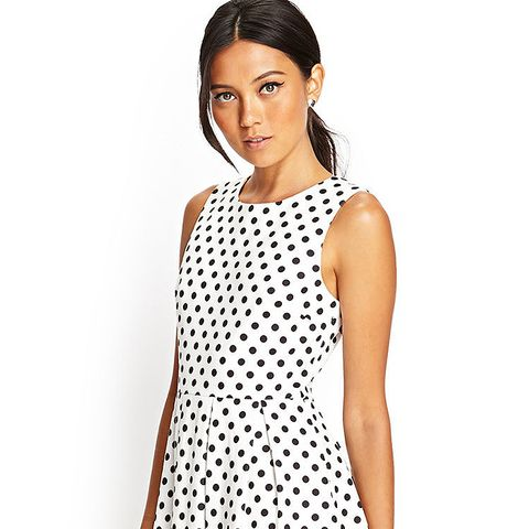 Pleated Polka Dot Dress
