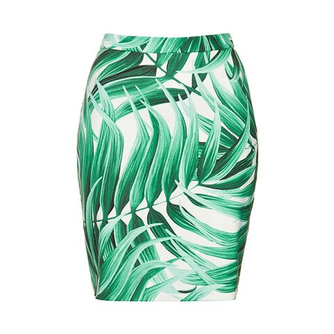 Tropical Leaf-Print Pencil Skirt