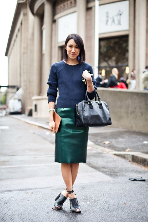 Street Style: High-Shine Pencil Skirts