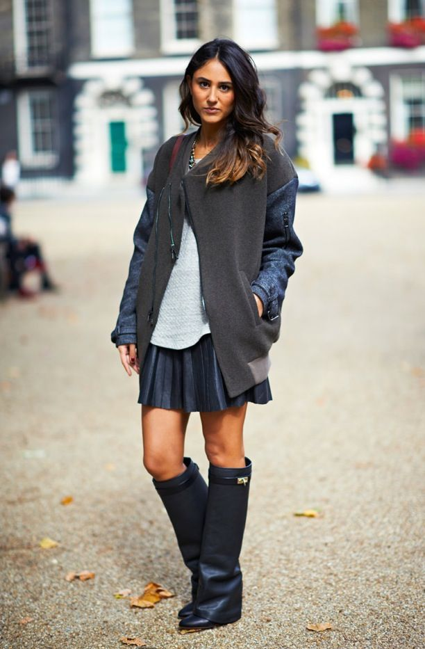 Street Style: Leather Skirts + Knee-High Boots