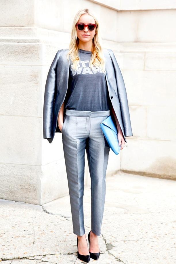 Street Style: Metallic Suits