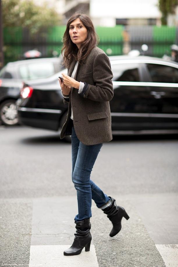 PFW Street Style: Rolled Cuffs, Denim + Boots