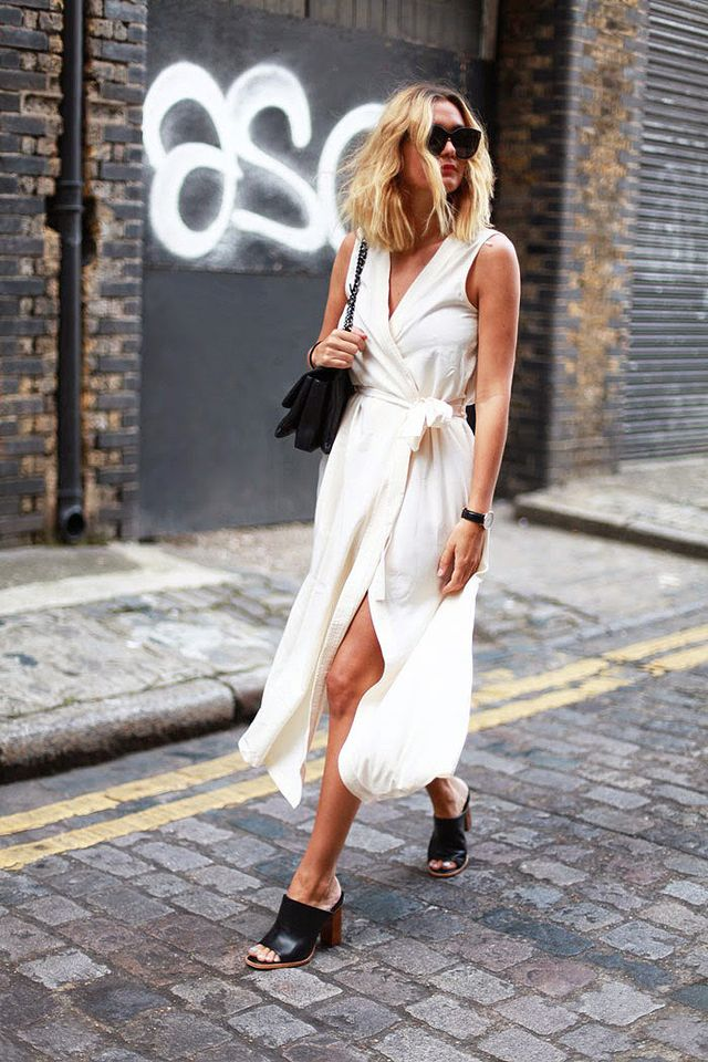 Chic Wrap Dress + Chunky Sandals