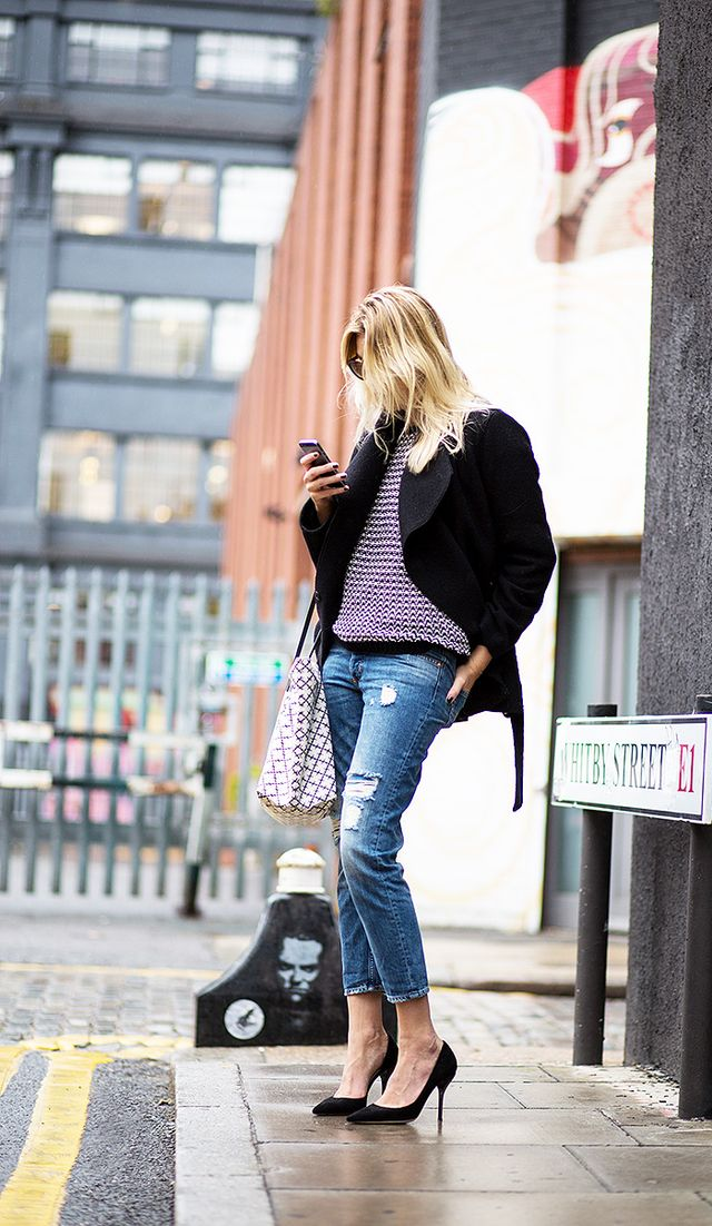 Knit Sweater + Distressed Denim