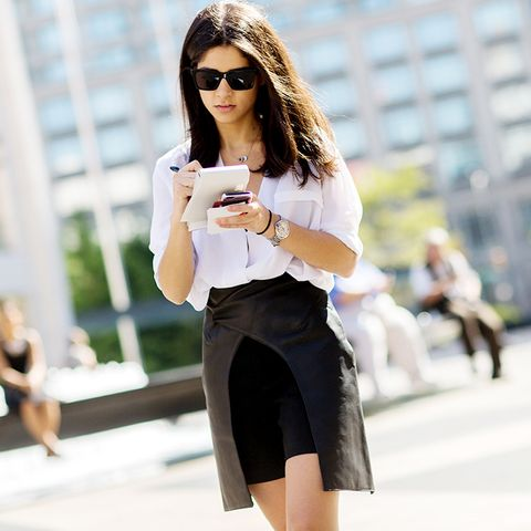 shirt and skirt street style
