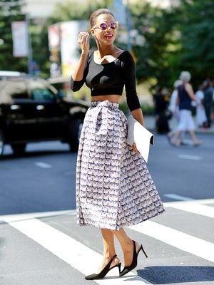 Tip of the Day: Balance Out a Bold Midi Skirt