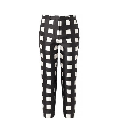 Check-Print Wool and Silk-Blend Trousers