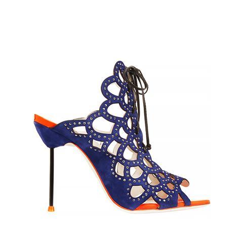 Greta Crystal-Embellished Cutout Suede Sandals
