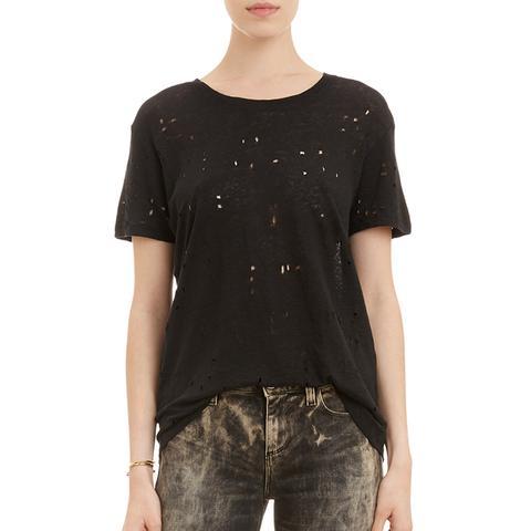 Hole-Distressed T-Shirt