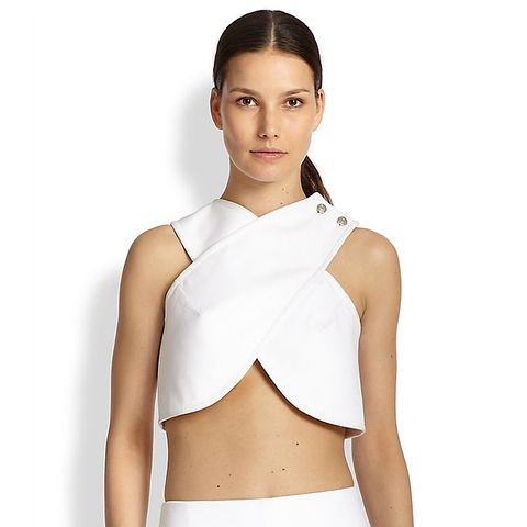 Cotton Crossover Cropped Top