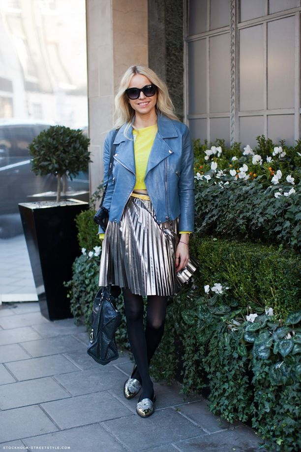 Street Style: Blue Jackets and Metallic Skirts