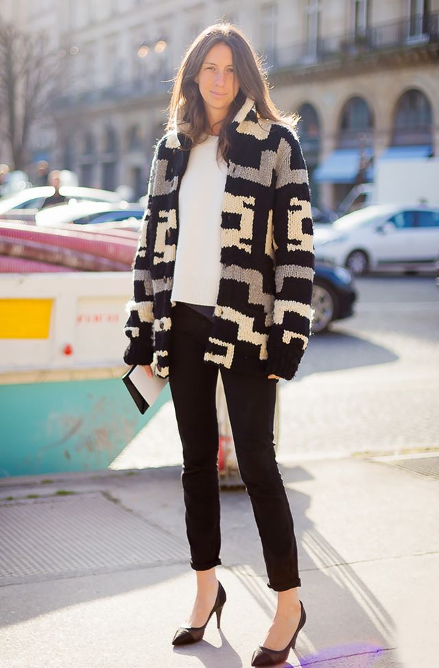 Channel an Isabel Marant-inspired vibe by swapping your basic black cardigan for a chunky knit style: