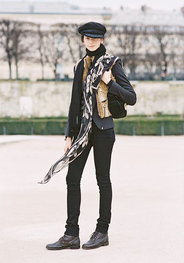 Style Tip: Swing a black scarf over one shoulder for an unexpected look.
