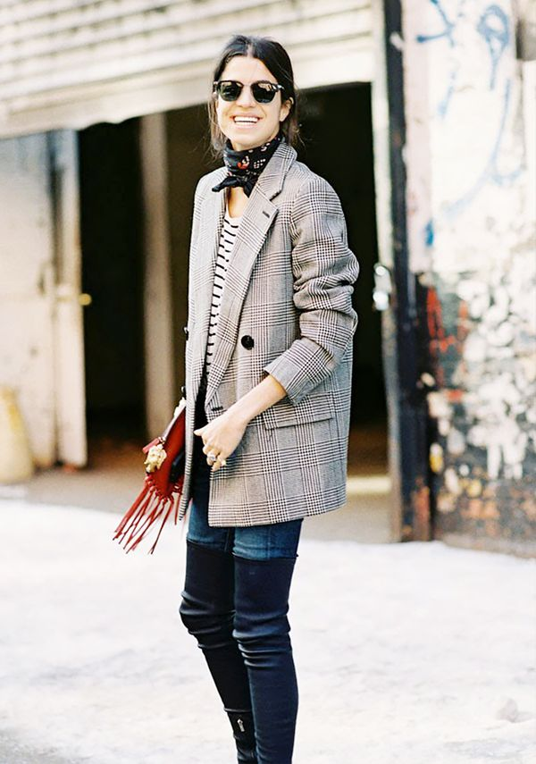 Style Tip: Secure your scarf around the neck and leave just the tips of the scarf out in front.