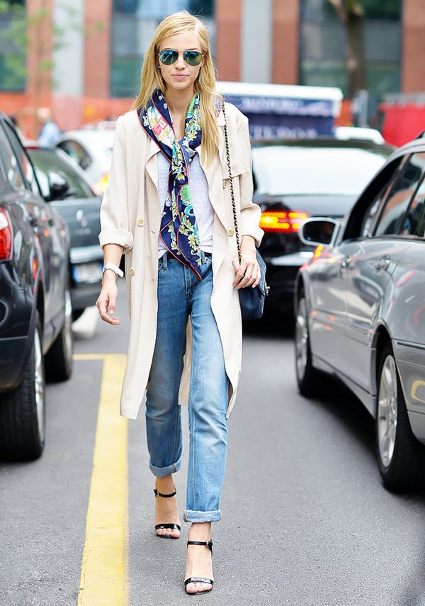 Style Tip: Swap out your statement necklace for a scarf tied lower on the neckline.