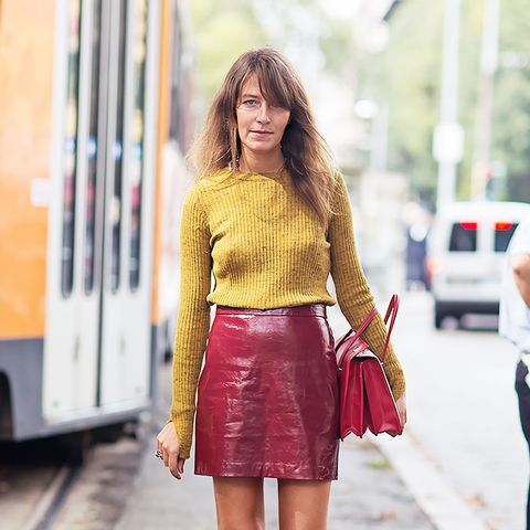 Yellow Leather Mini Skirt