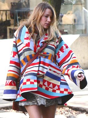 The Eye-Catching Blanket Coat Adored By Blake Lively