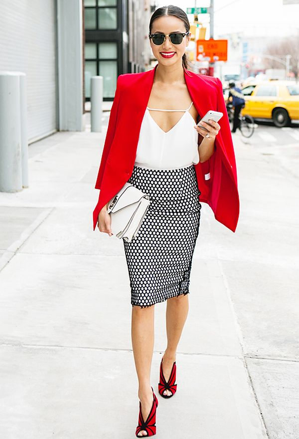 Style Notes: We love how Jamie Chung has matched her shoes with her jacket.