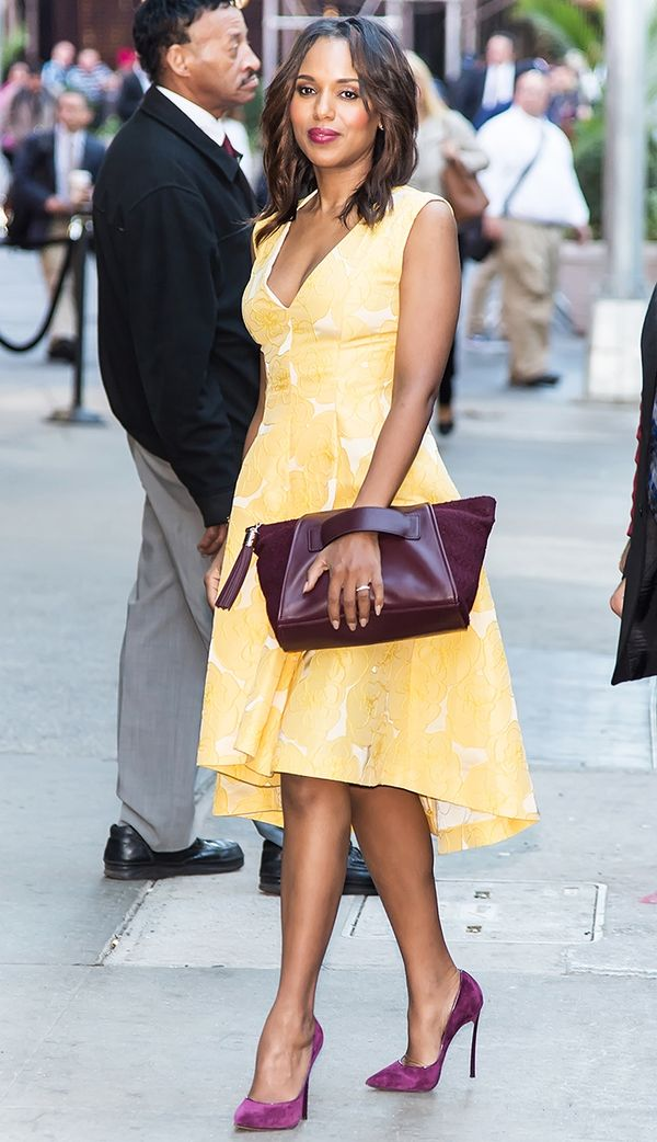 Style Notes: Not only does pale yellow work on Kerry Washington because of her hair colour, it also looks incredible with that plum lipstick.