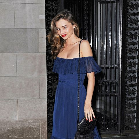 Miranda Kerr off the shoulder blue maxi dress