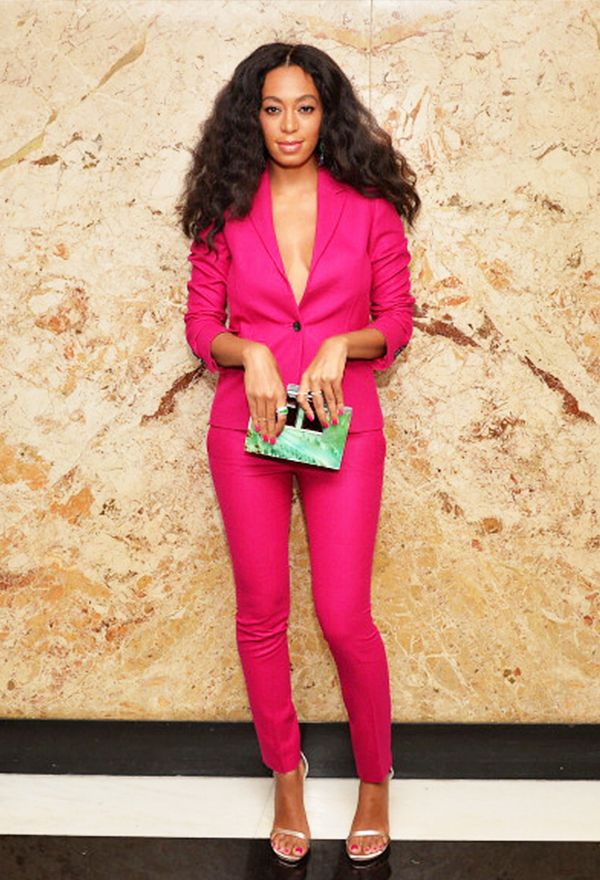 Style Notes: This bold pop of colour (via a Gucci suit) shows off Solange Knowles' flawless skin.