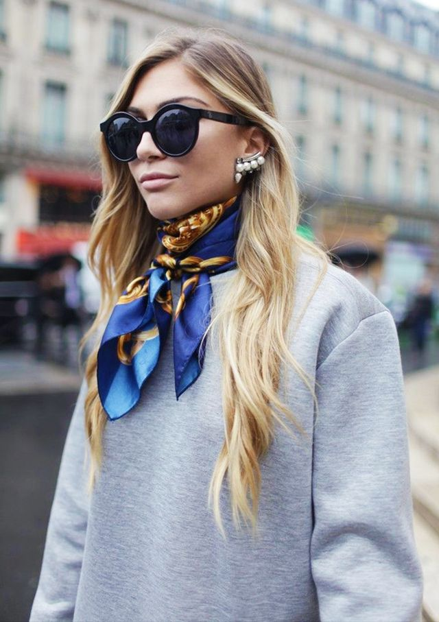 How to wear silk scarf around neck