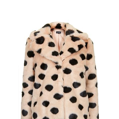 Faux Fur Polka Dot Coat