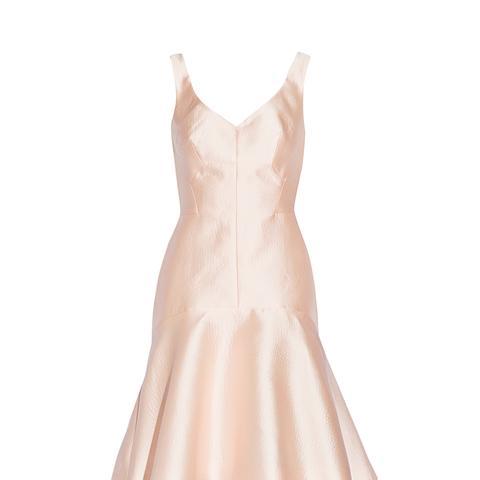 Paneled Embossed-Satin Dress
