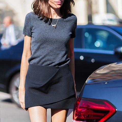 3. Wrap Mini-Skirt + Simple T-Shirt
