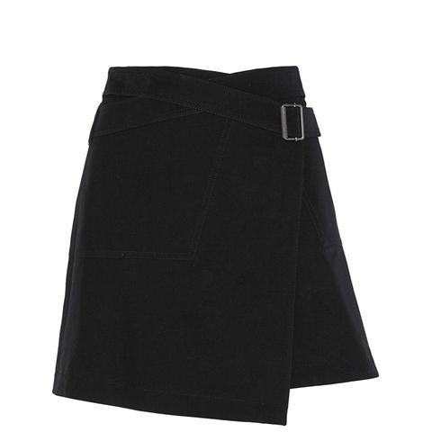 Ryder Stretch-Cotton Twill Wrap Mini Skirt