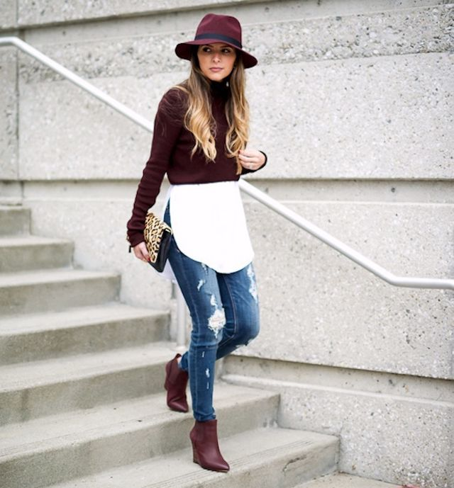5 Looks That Put Burgundy Boots On Our Must-Have List | WhoWhatWear