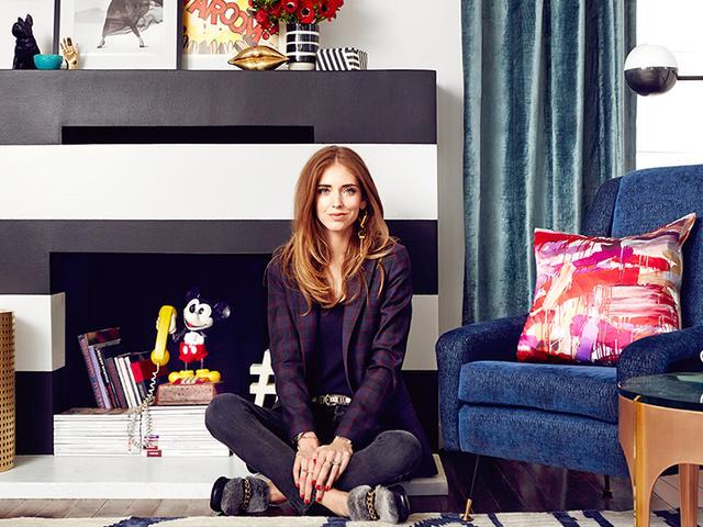 home tour chiara ferragni 39 s pop chic los angeles home mydomaine. Black Bedroom Furniture Sets. Home Design Ideas