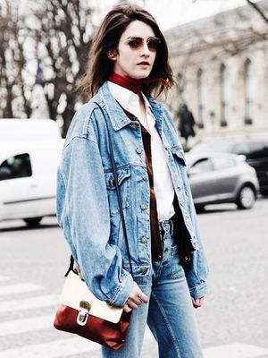 An On-Trend Way to Style Your Oversized Jean Jacket