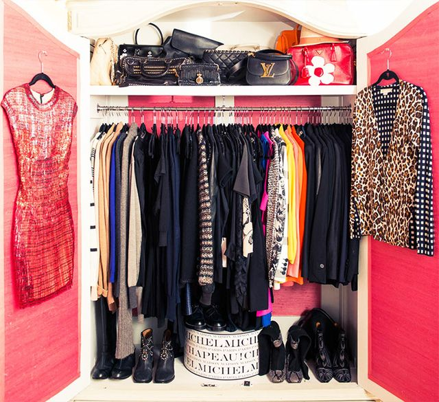 The inner closet door is prime accessory storage real estate—try hanging over-the-door storage or installing hooks (just be sure to stagger them to utilize the most space).