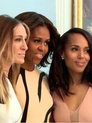 See What SJP Whispers to Michelle Obama When They Meet at a Photo Shoot