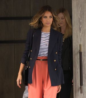 Have to Have It: Jessica Alba's Coral Wide-Leg Trousers