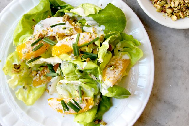 Butter Lettuce Salad With Pistachios and Orange Créme Fraiche Dressing