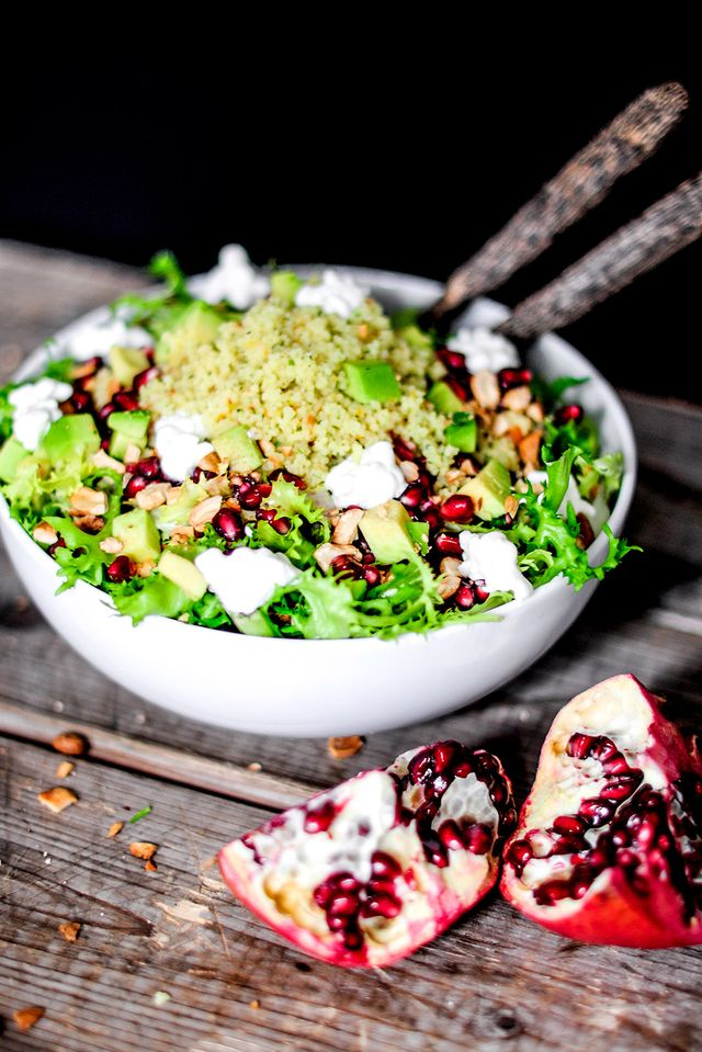 Couscous Spring Salad With Avocado, Pomegranate, and Honey-Sesame Dressing