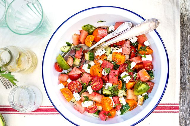 Summer Watermelon Salad With Tomatoes, Feta, and Mint